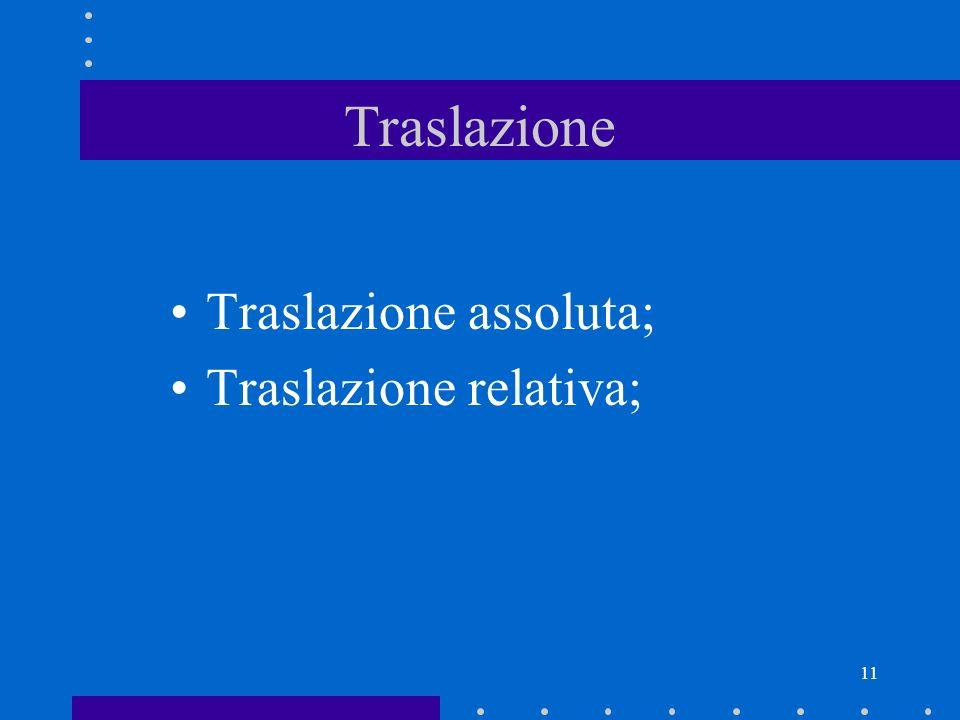 11 Traslazione Traslazione assoluta; Traslazione relativa;