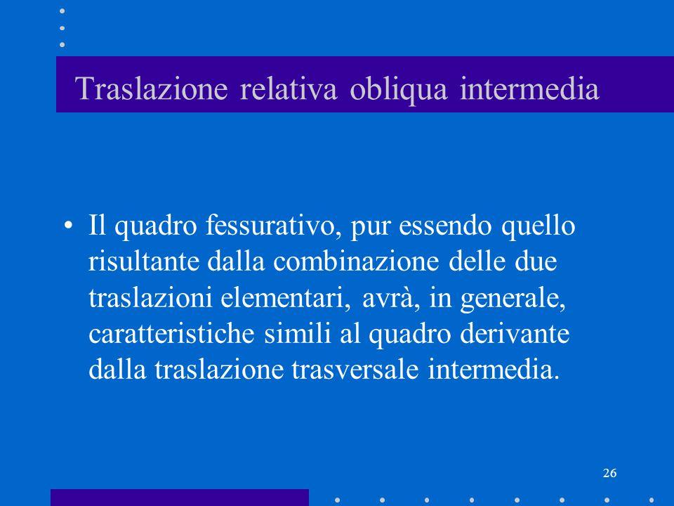 26 Traslazione relativa obliqua intermedia Il quadro fessurativo, pur essendo quello risultante dalla combinazione delle due traslazioni elementari, a