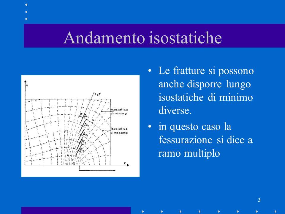 3 Andamento isostatiche Le fratture si possono anche disporre lungo isostatiche di minimo diverse. in questo caso la fessurazione si dice a ramo multi