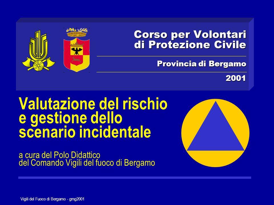 Vigili del Fuoco di Bergamo - gmg2001 Le attività di Protezione Civile AddestramentoVerifica RevisionePreparazione La capacità di risposta dellapparato di soccorso Previsione Prevenzione Protezione mitigare le conseguenze