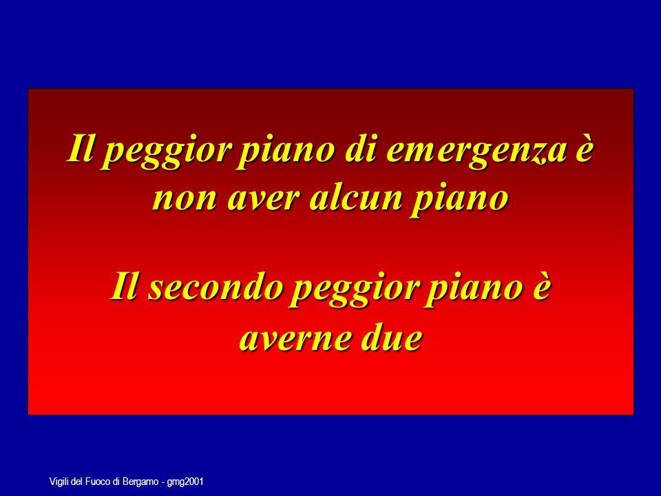 Vigili del Fuoco di Bergamo - gmg2001 PIANIFICAZIONE E GESTIONE DELLEMERGENZA il ruolo ed il coordinamento delle componenti e delle strutture di protezione civile può essere definito nel migliore dei modi attraverso un processo di