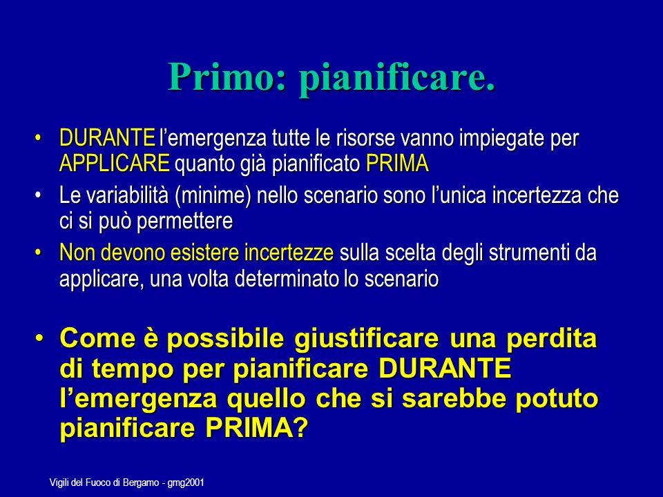 Vigili del Fuoco di Bergamo - gmg2001 La pianificazione demergenza Pianificare prima per Applicare durante e Gestire poi