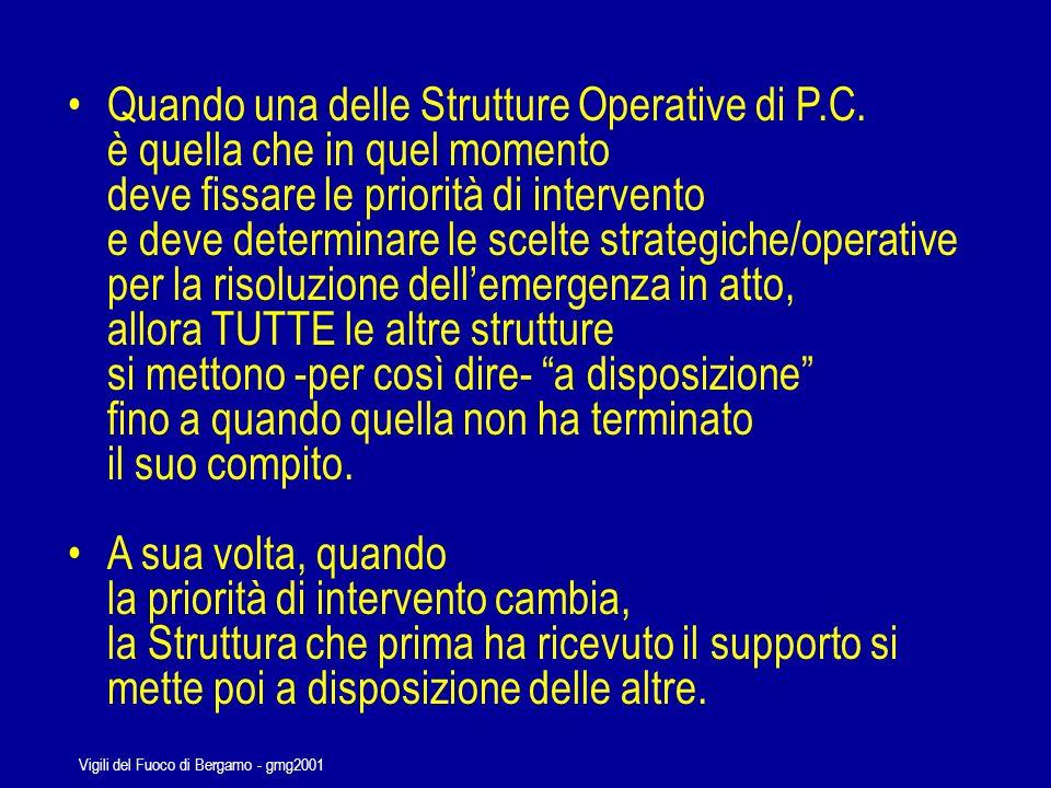 Vigili del Fuoco di Bergamo - gmg2001 E necessario che le Funzioni di Comando siano esercitate da quella Struttura che, in quel momento della gestione dellemergenza, rappresenta la Risorsa che può e deve dare il massimo, in quella determinata fase.