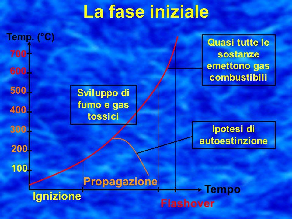 La fase iniziale Caratterizzata da rapide oscillazioni di temperatura e da tre sottofasi distinte: di ignizione di propagazione di flashover o combust