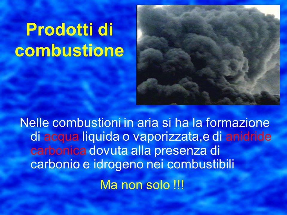 Prodotti di combustione Il calore generato innalza la temperatura a valori tali per cui i partecipanti alla reazione irradiano energia elettromagnetic