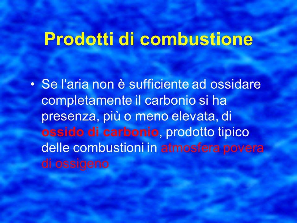 Prodotti di combustione Nelle combustioni in aria si ha la formazione di acqua liquida o vaporizzata,e di anidride carbonica dovuta alla presenza di c