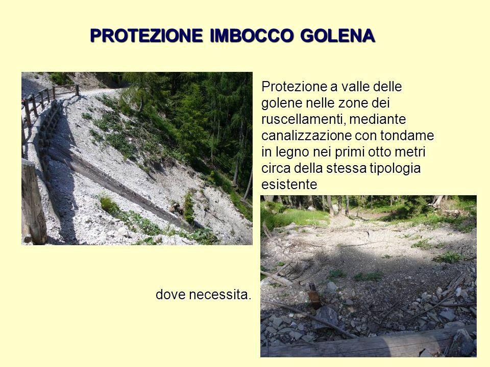 PROTEZIONE IMBOCCO GOLENA Protezione a valle delle golene nelle zone dei ruscellamenti, mediante canalizzazione con tondame in legno nei primi otto me