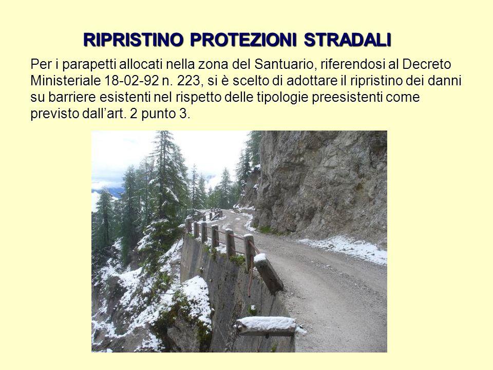 RIPRISTINO PROTEZIONI STRADALI Per i parapetti allocati nella zona del Santuario, riferendosi al Decreto Ministeriale 18-02-92 n. 223, si è scelto di