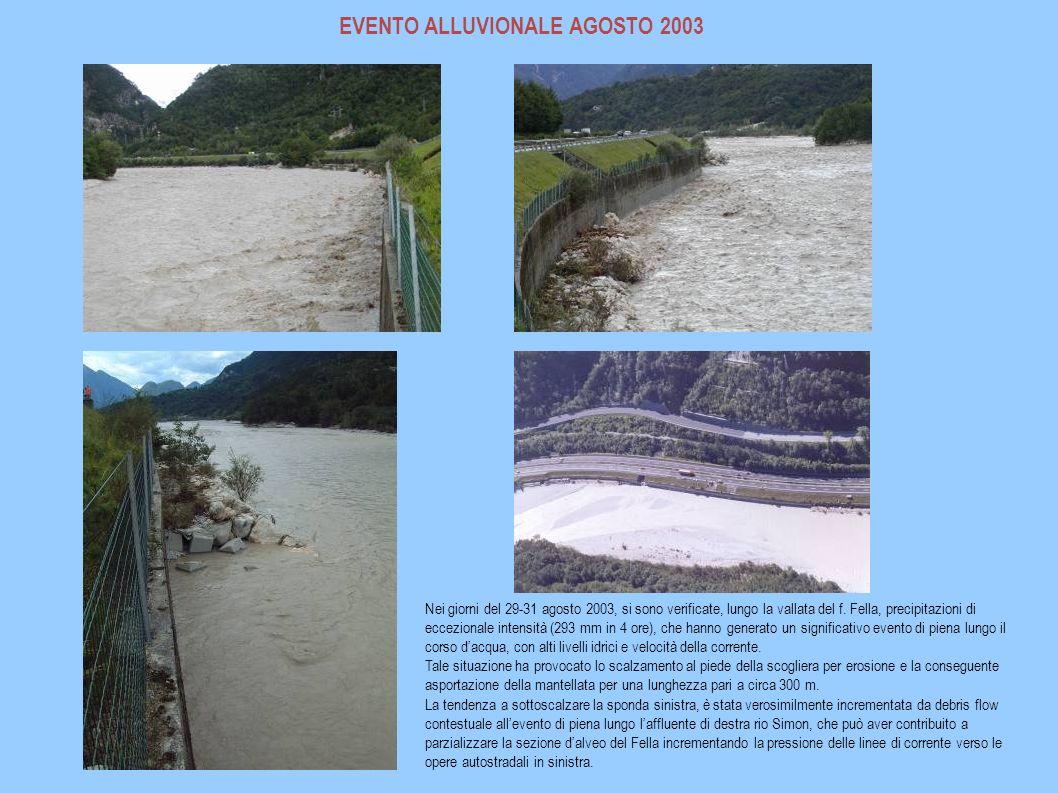 EVENTO ALLUVIONALE AGOSTO 2003 Nei giorni del 29-31 agosto 2003, si sono verificate, lungo la vallata del f. Fella, precipitazioni di eccezionale inte