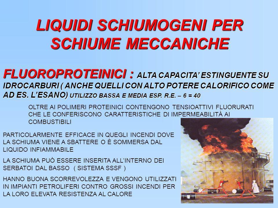 LIQUIDI SCHIUMOGENI PER SCHIUME MECCANICHE FLUOROPROTEINICI : ALTA CAPACITA ESTINGUENTE SU IDROCARBURI ( ANCHE QUELLI CON ALTO POTERE CALORIFICO COME