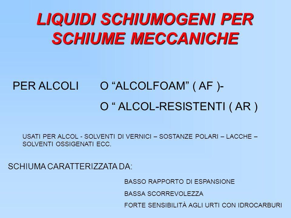 LIQUIDI SCHIUMOGENI PER SCHIUME MECCANICHE PER ALCOLI O ALCOLFOAM ( AF )- O ALCOL-RESISTENTI ( AR ) USATI PER ALCOL - SOLVENTI DI VERNICI – SOSTANZE P