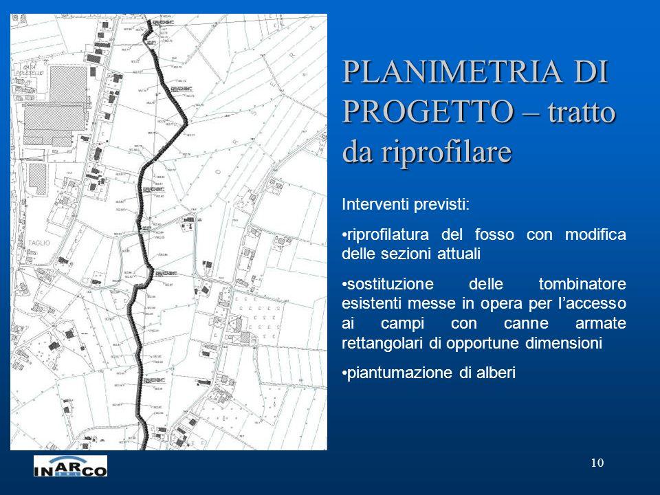 10 PLANIMETRIA DI PROGETTO – tratto da riprofilare Interventi previsti: riprofilatura del fosso con modifica delle sezioni attuali sostituzione delle