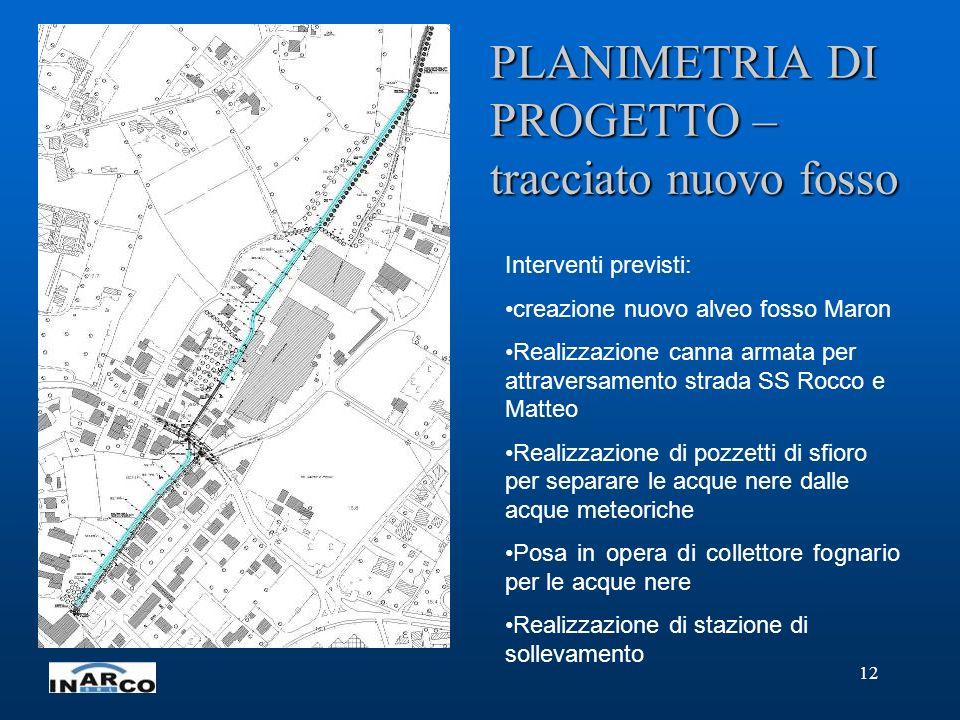 12 PLANIMETRIA DI PROGETTO – tracciato nuovo fosso Interventi previsti: creazione nuovo alveo fosso Maron Realizzazione canna armata per attraversamen
