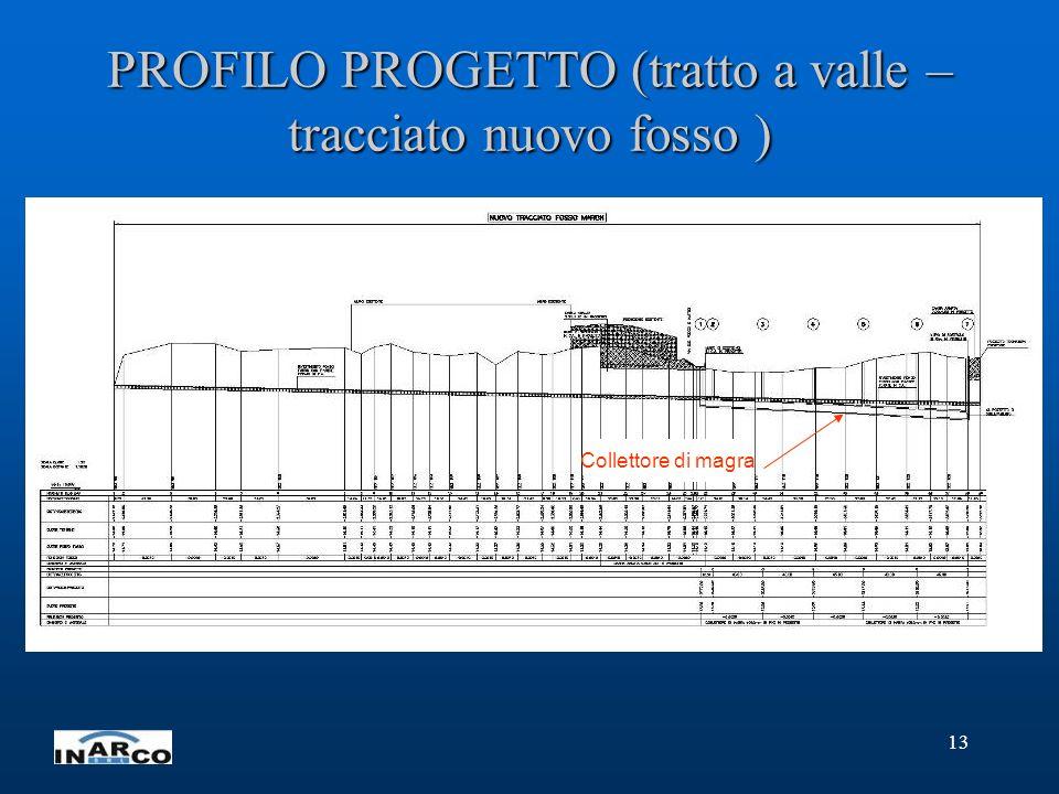 13 PROFILO PROGETTO (tratto a valle – tracciato nuovo fosso ) Collettore di magra