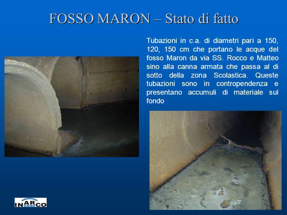 5 FOSSO MARON – Stato di fatto Tubazioni in c.a. di diametri pari a 150, 120, 150 cm che portano le acque del fosso Maron da via SS. Rocco e Matteo si