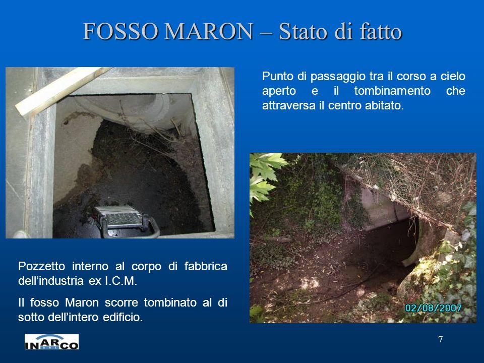 7 FOSSO MARON – Stato di fatto Pozzetto interno al corpo di fabbrica dellindustria ex I.C.M. Il fosso Maron scorre tombinato al di sotto dellintero ed