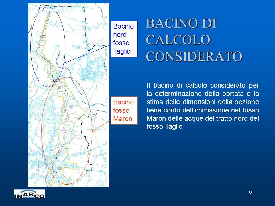 9 BACINO DI CALCOLO CONSIDERATO Il bacino di calcolo considerato per la determinazione della portata e la stima delle dimensioni della sezione tiene c