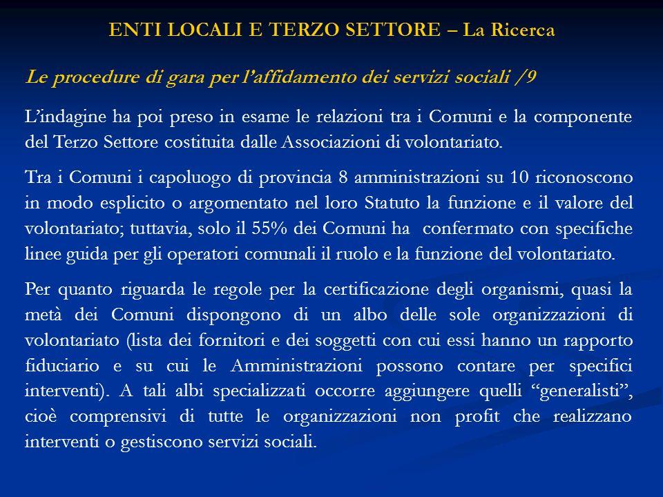 Lindagine ha poi preso in esame le relazioni tra i Comuni e la componente del Terzo Settore costituita dalle Associazioni di volontariato.