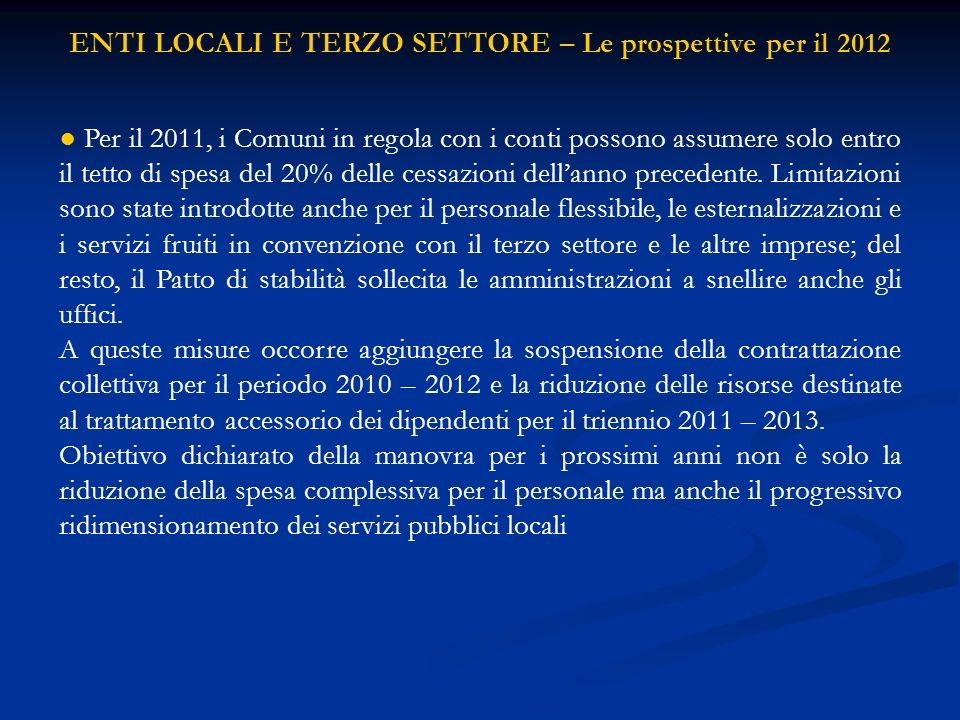 ENTI LOCALI E TERZO SETTORE – Le prospettive per il 2012 Per il 2011, i Comuni in regola con i conti possono assumere solo entro il tetto di spesa del 20% delle cessazioni dellanno precedente.