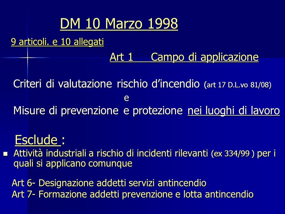 DM 10 Marzo 1998 9 articoli. e 10 allegati 9 articoli. e 10 allegati Art 1 Campo di applicazione Art 1 Campo di applicazione Criteri di valutazione ri