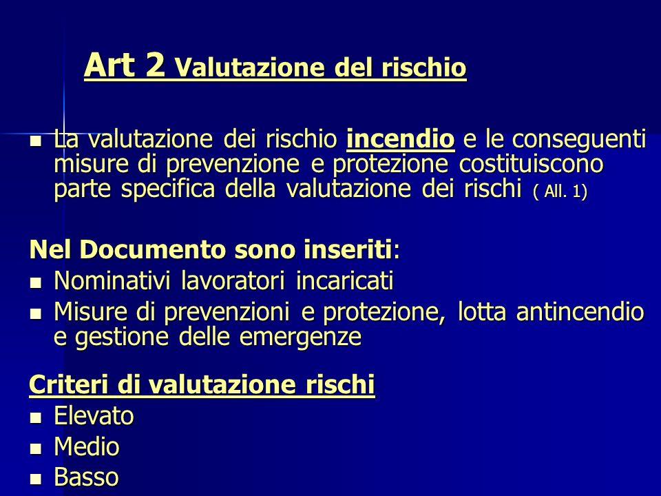 Art 2 Valutazione del rischio Art 2 Valutazione del rischio La valutazione dei rischio incendio e le conseguenti misure di prevenzione e protezione co