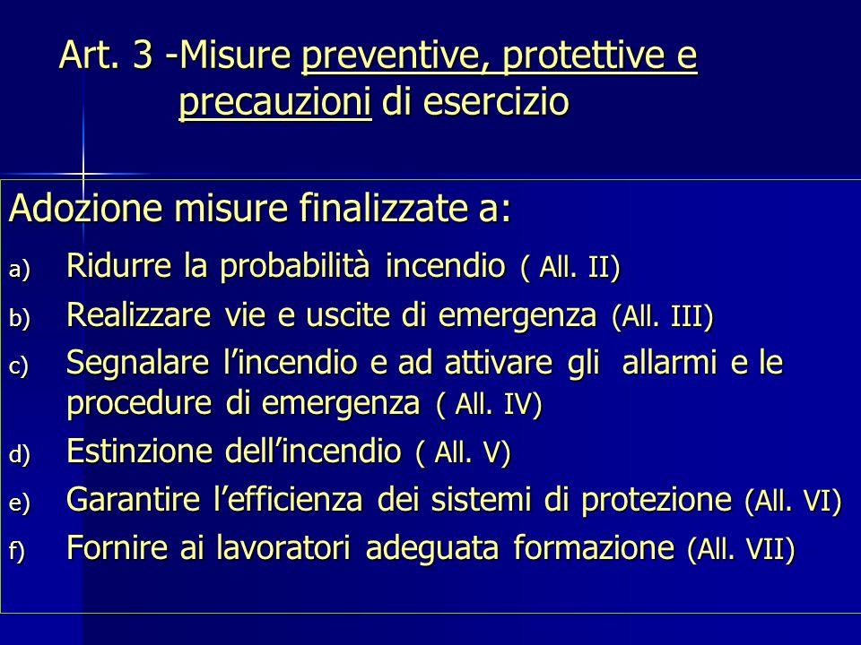 Art. 3 -Misure preventive, protettive e precauzioni di esercizio Adozione misure finalizzate a: a) Ridurre la probabilità incendio ( All. II) b) Reali