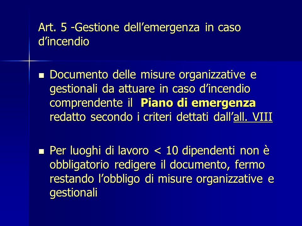 Art. 5 -Gestione dellemergenza in caso dincendio Documento delle misure organizzative e gestionali da attuare in caso dincendio comprendente il Piano