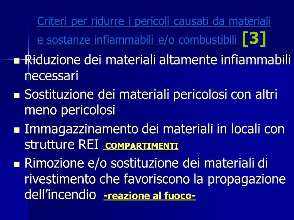 Criteri per ridurre i pericoli causati da materiali e sostanze infiammabili e/o combustibili Criteri per ridurre i pericoli causati da materiali e sos