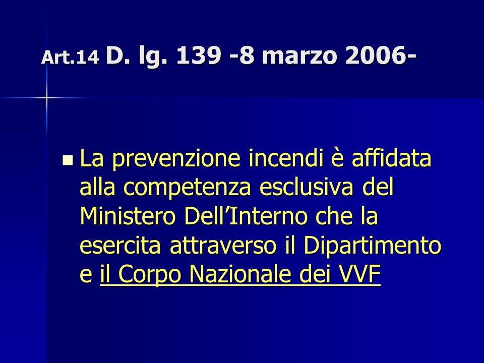 Art.14 D. lg. 139 -8 marzo 2006- La prevenzione incendi è affidata alla competenza esclusiva del Ministero DellInterno che la esercita attraverso il D