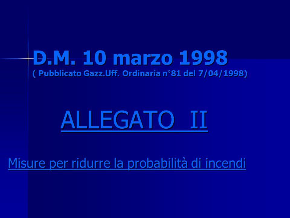 D.M. 10 marzo 1998 ( Pubblicato Gazz.Uff. Ordinaria n°81 del 7/04/1998) ALLEGATO II ALLEGATO II Misure per ridurre la probabilità di incendi
