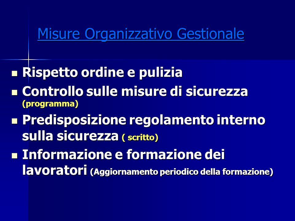 Misure Organizzativo Gestionale Rispetto ordine e pulizia Rispetto ordine e pulizia Controllo sulle misure di sicurezza (programma) Controllo sulle mi
