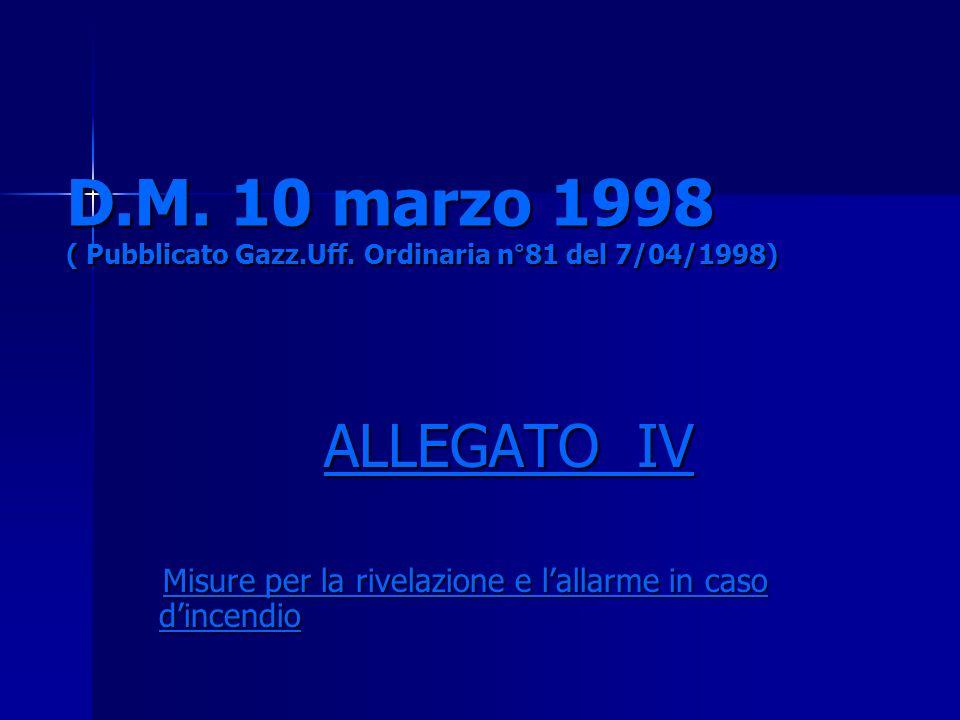 D.M. 10 marzo 1998 ( Pubblicato Gazz.Uff. Ordinaria n°81 del 7/04/1998) ALLEGATO IV Misure per la rivelazione e lallarme in caso dincendio Misure per