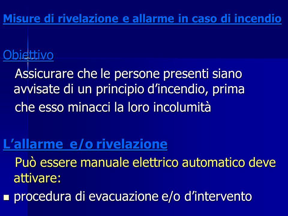 Misure di rivelazione e allarme in caso di incendio Obiettivo Assicurare che le persone presenti siano avvisate di un principio dincendio, prima Assic