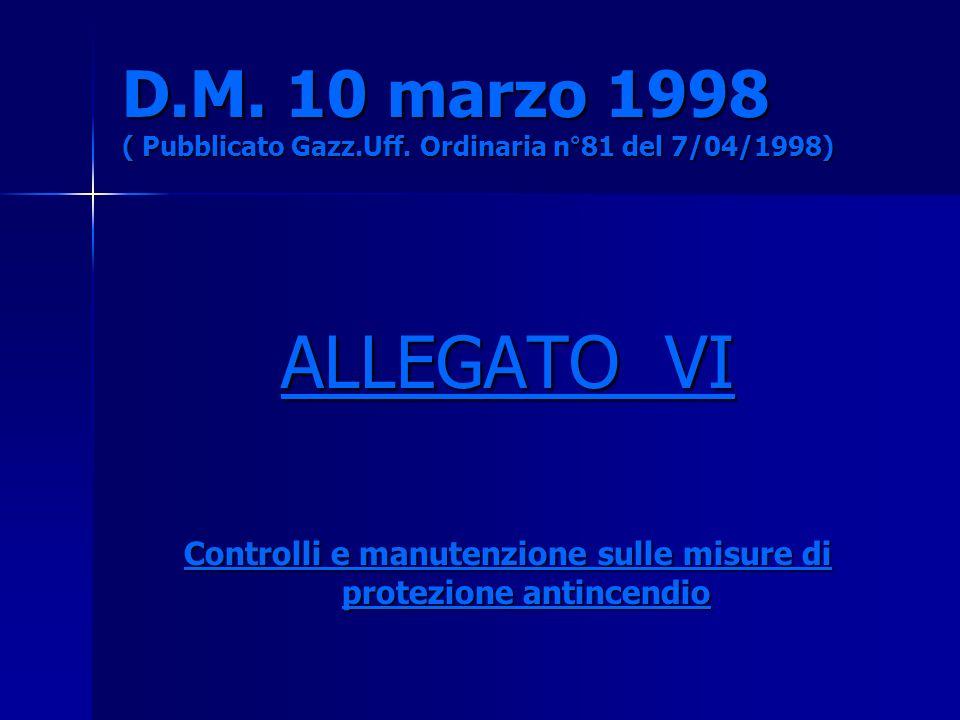 D.M. 10 marzo 1998 ( Pubblicato Gazz.Uff. Ordinaria n°81 del 7/04/1998) ALLEGATO VI Controlli e manutenzione sulle misure di protezione antincendio