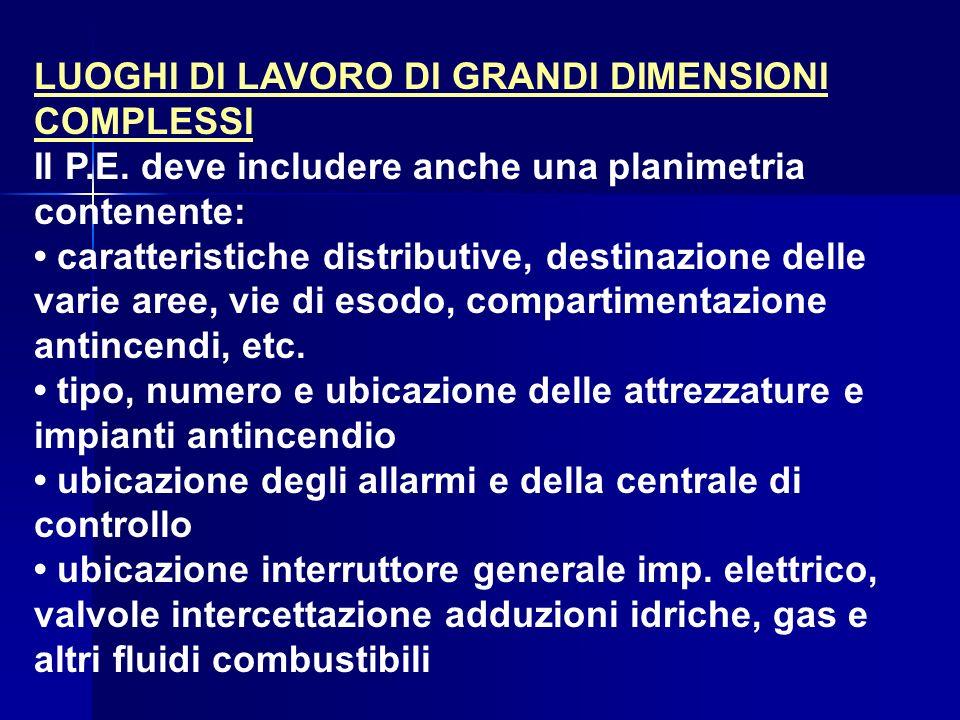 LUOGHI DI LAVORO DI GRANDI DIMENSIONI COMPLESSI Il P.E. deve includere anche una planimetria contenente: caratteristiche distributive, destinazione de