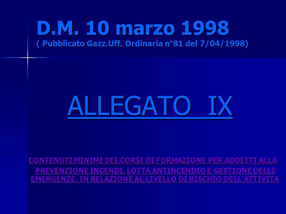 D.M. 10 marzo 1998 ( Pubblicato Gazz.Uff. Ordinaria n°81 del 7/04/1998) ALLEGATO IX CONTENUTI MINIMI DEI CORSI DI FORMAZIONE PER ADDETTI ALLA PREVENZI