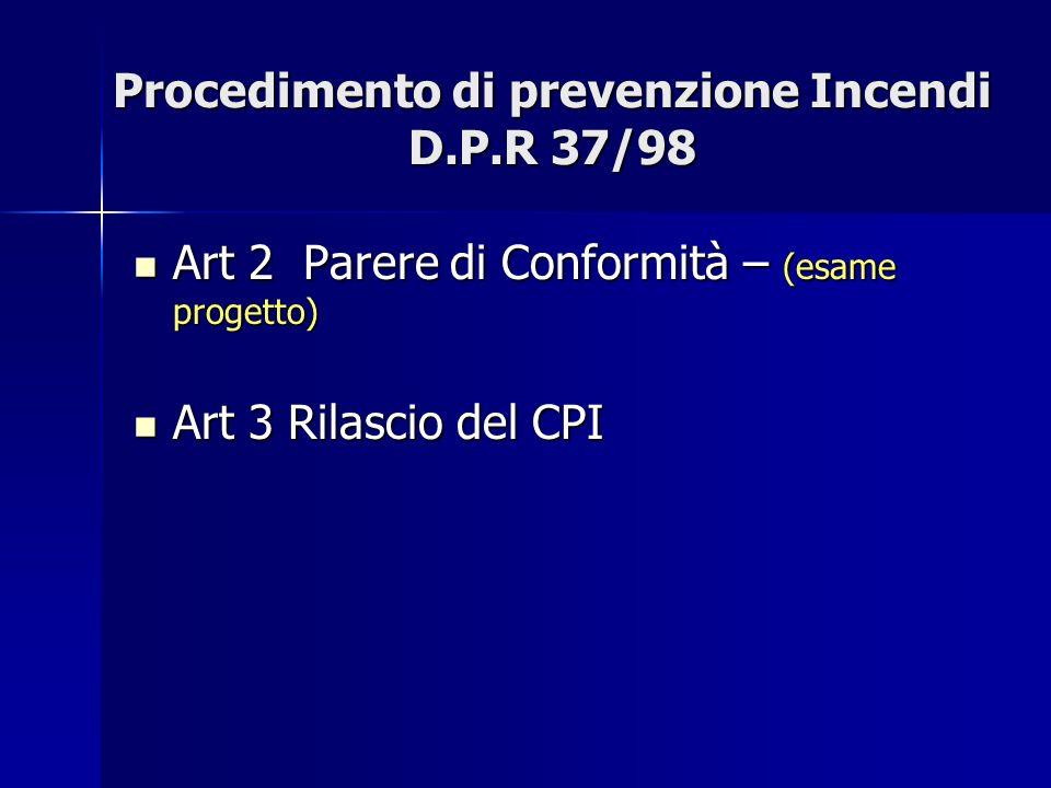 Procedimento di prevenzione Incendi D.P.R 37/98 Art 2 Parere di Conformità – (esame progetto) Art 2 Parere di Conformità – (esame progetto) Art 3 Rila