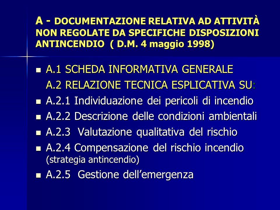 A - DOCUMENTAZIONE RELATIVA AD ATTIVITÀ NON REGOLATE DA SPECIFICHE DISPOSIZIONI ANTINCENDIO ( D.M. 4 maggio 1998) A.1 SCHEDA INFORMATIVA GENERALE A.1
