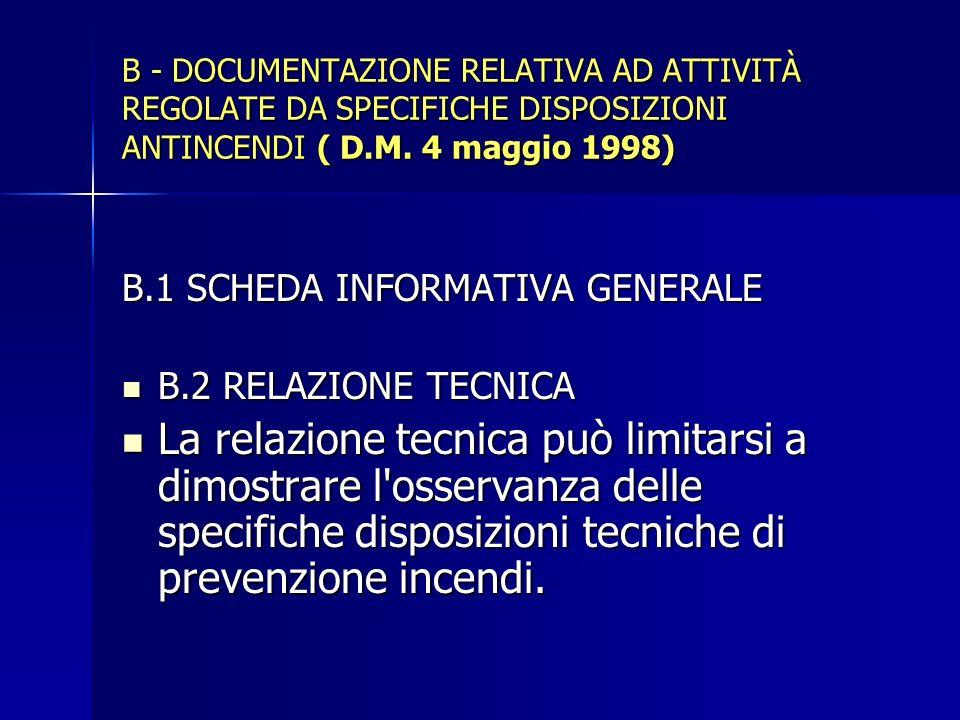 B - DOCUMENTAZIONE RELATIVA AD ATTIVITÀ REGOLATE DA SPECIFICHE DISPOSIZIONI ANTINCENDI ( D.M. 4 maggio 1998) B.1 SCHEDA INFORMATIVA GENERALE B.2 RELAZ