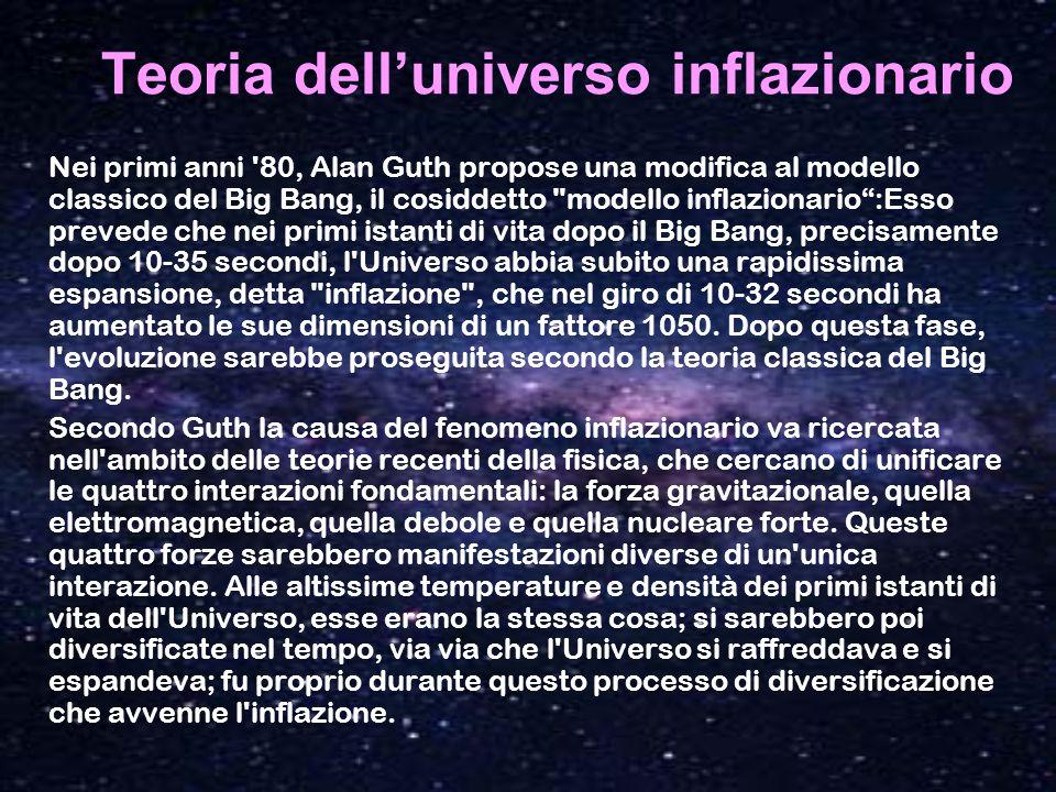Teoria delluniverso inflazionario Nei primi anni '80, Alan Guth propose una modifica al modello classico del Big Bang, il cosiddetto