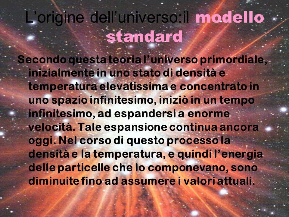 Lorigine delluniverso:il modello standard Secondo questa teoria luniverso primordiale, inizialmente in uno stato di densità e temperatura elevatissima