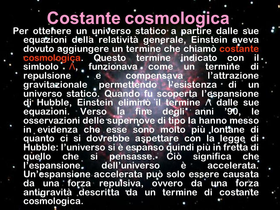 Costante cosmologica Per ottenere un universo statico a partire dalle sue equazioni della relatività generale, Einstein aveva dovuto aggiungere un ter
