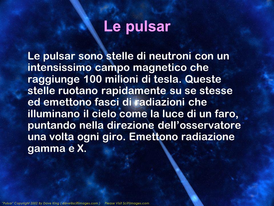 Le pulsar Le pulsar sono stelle di neutroni con un intensissimo campo magnetico che raggiunge 100 milioni di tesla. Queste stelle ruotano rapidamente