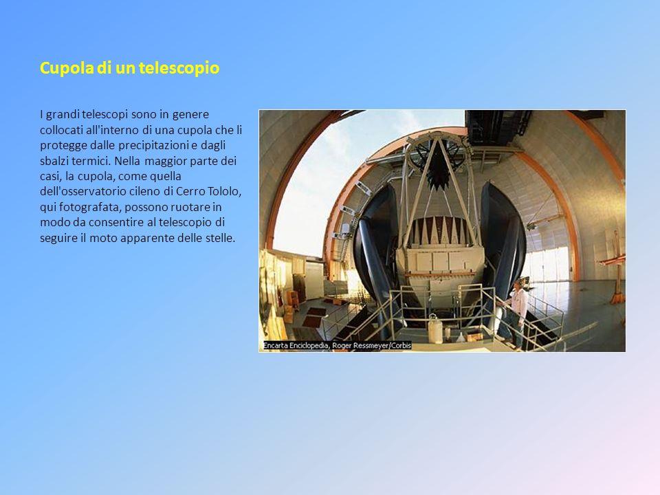 Cupola di un telescopio I grandi telescopi sono in genere collocati all'interno di una cupola che li protegge dalle precipitazioni e dagli sbalzi term