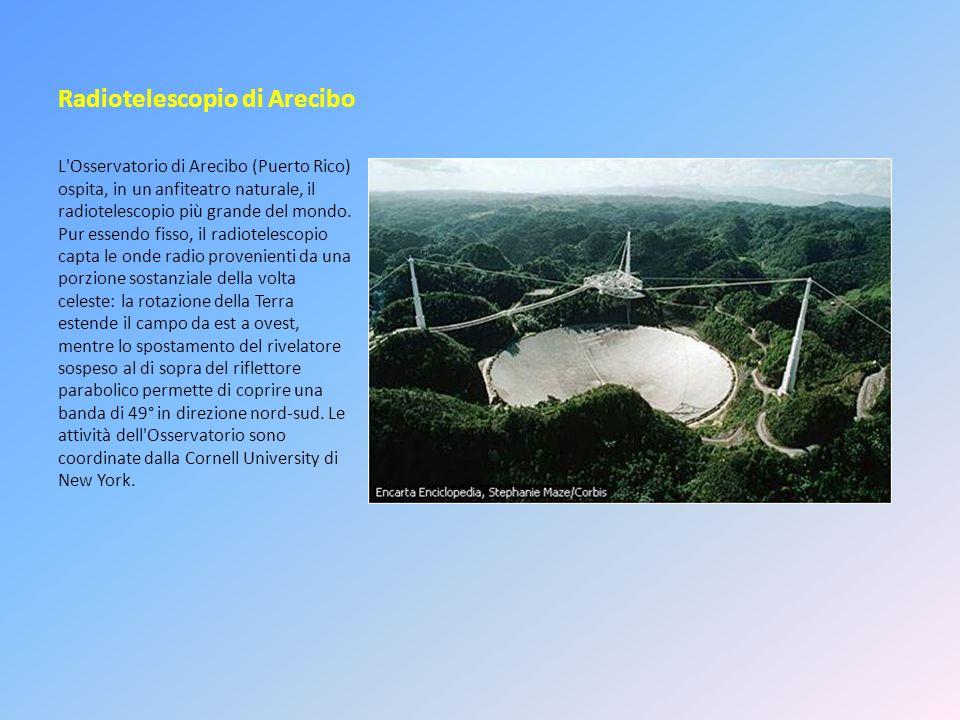 Radiotelescopio di Arecibo L'Osservatorio di Arecibo (Puerto Rico) ospita, in un anfiteatro naturale, il radiotelescopio più grande del mondo. Pur ess