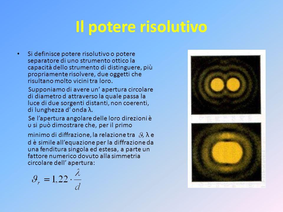 Il potere risolutivo Si definisce potere risolutivo o potere separatore di uno strumento ottico la capacità dello strumento di distinguere, più propri