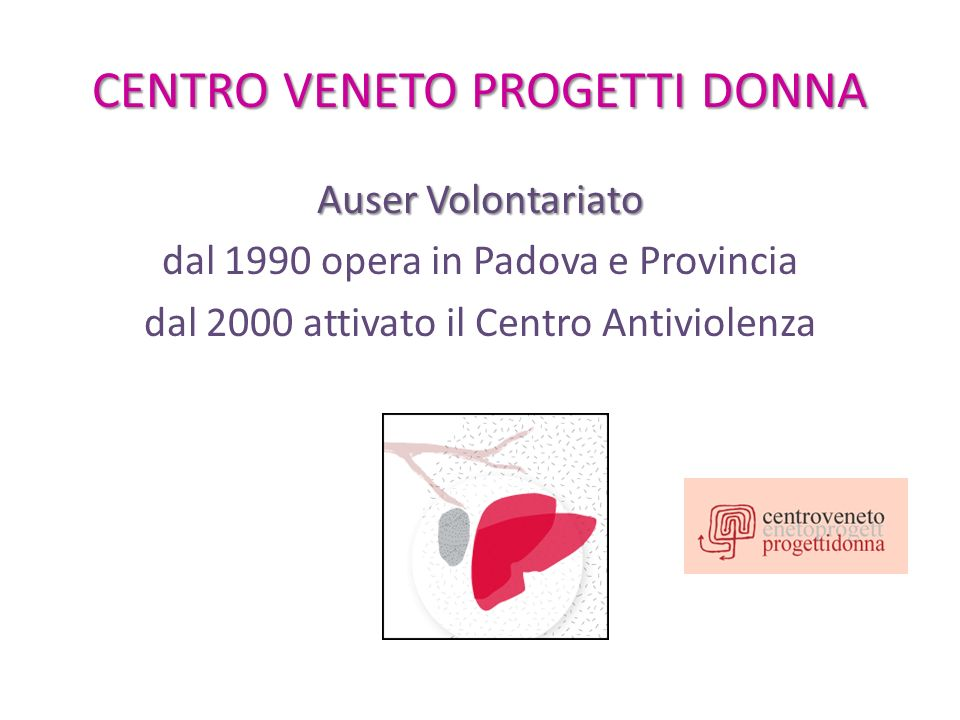 Dati Violenza Padova 2008: 140 donne 2009: 200 donne 2010: 275 donne 2011: 302 donne 2012: 375 donne 2013: primi due mesi dellanno 134 donne (trend 600) 93% non denuncia!