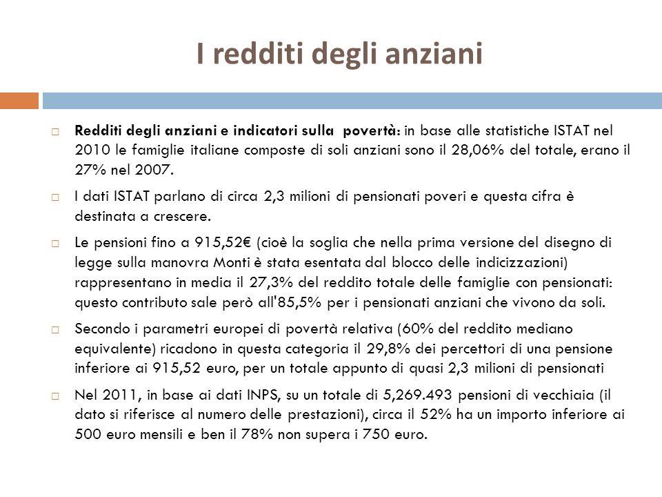 I redditi degli anziani Redditi degli anziani e indicatori sulla povertà: in base alle statistiche ISTAT nel 2010 le famiglie italiane composte di soli anziani sono il 28,06% del totale, erano il 27% nel 2007.