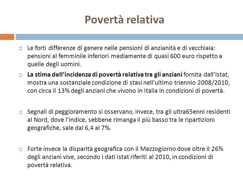 Povertà relativa Le forti differenze di genere nelle pensioni di anzianità e di vecchiaia: pensioni al femminile inferiori mediamente di quasi 600 euro rispetto a quelle degli uomini.