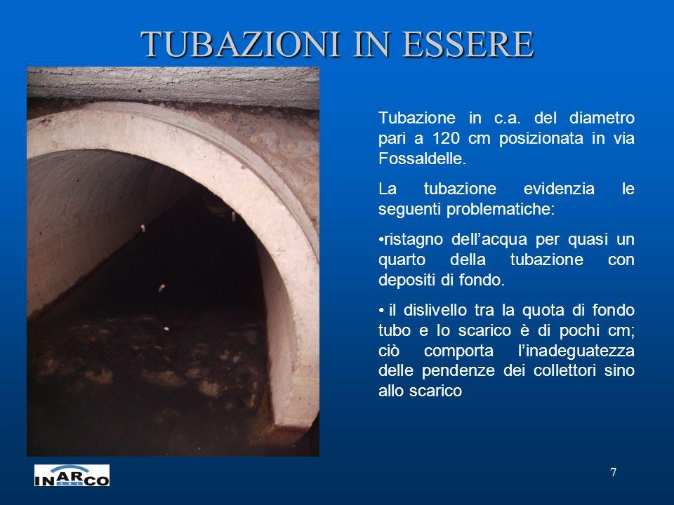 7 TUBAZIONI IN ESSERE Tubazione in c.a. del diametro pari a 120 cm posizionata in via Fossaldelle.